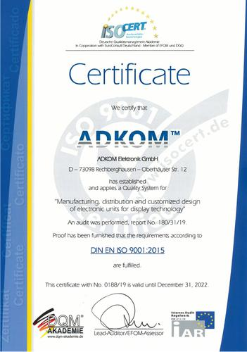 Recertification for DIN EN ISO 9001:2015